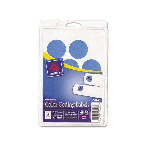 "Avery Printable Removable Color-Coding Labels, 1 1-4"" Dia, Light Blue, 400-pack"