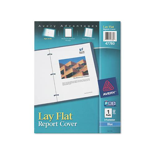 "Avery Lay Flat View Report Cover W-flexible Fastener, Letter, 1-2"" Cap, Clear-blue"