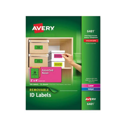 Avery High-Visibility Removable Id Labels, Laser-inkjet, 2 X 4, Asst. Neon, 120-pack