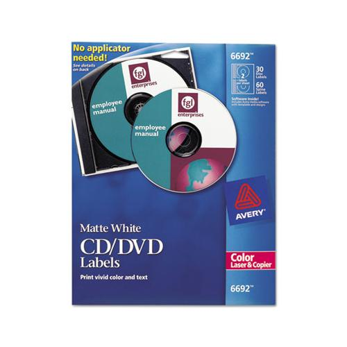 Avery Laser Cd Labels, Matte White, 30-pack