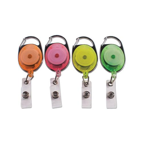 "Advantus Carabiner-Style Retractable Id Card Reel, 30"" Extension, Assorted Neon, 20-pack"