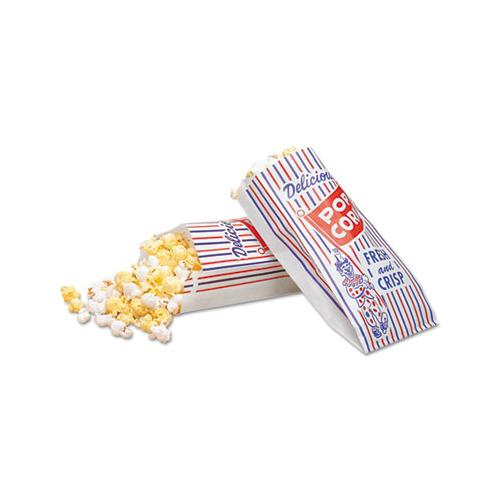 Bagcraft Pinch-Bottom Paper Popcorn Bag, 4w X 1-1-2d X 8h, Blue-red-white, 1000-carton