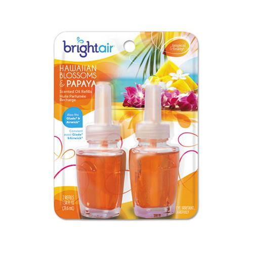 BRIGHT Air Electric Scented Oil Air Freshener Refill, Hawaiian Blossoms And Papaya, 2-pack