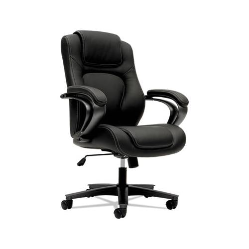 HON HVL402 SERIES EXECUTIVE HIGH-BACK CHAIR, BLACK VINYL