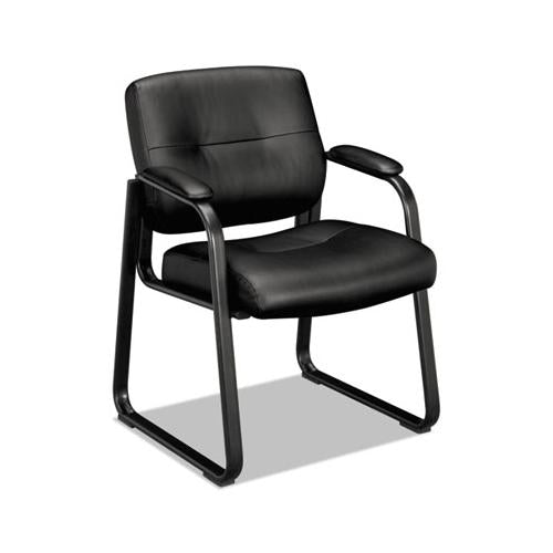 HON Vl690 Series Guest Leather Chair, Black Leather