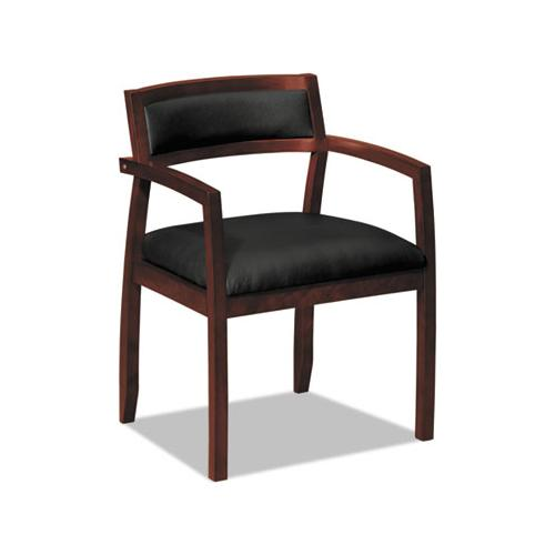 HON TOPFLIGHT WOOD GUEST CHAIRS W-BLACK LEATHER SEAT-UPHOLSTERED BACK, MAHOGANY