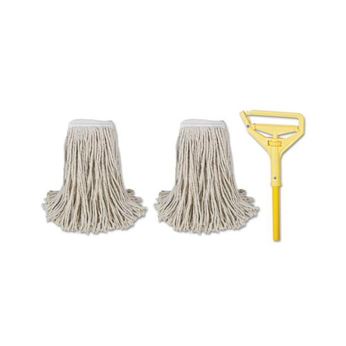 "Boardwalk Cut-End Mop Kits, #24, Natural, 60"" Metal-plastic Handle, Yellow"