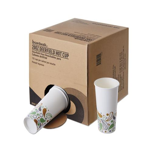 Boardwalk Convenience Pack Paper Hot Cups, 20 Oz, Deerfield Print, 135-carton
