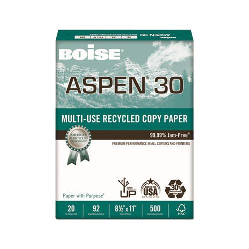 Boise ASPEN 30% RECYCLED MULTI-USE PAPER, 92 BRIGHT, 20LB, 8 1-2 X 11, WHITE, 5000-CT