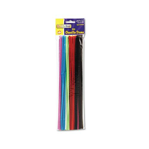 "ChenilleKr Regular Stems, 12"" X 4mm, Metal Wire, Polyester, Assorted, 100-pack"