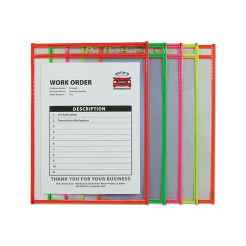 "C-Line STITCHED SHOP TICKET HOLDER, NEON, ASSORTED 5 COLORS, 75"", 9 X 12, 10-PACK"