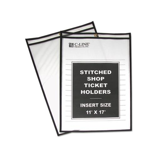 "C-Line SHOP TICKET HOLDERS, STITCHED, BOTH SIDES CLEAR, 75"", 11 X 17, 25-BOX"