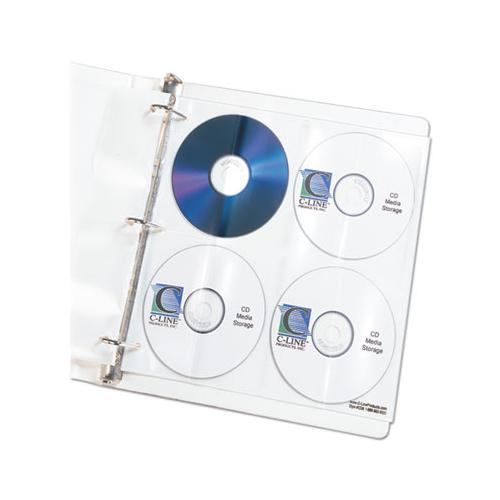 C-Line Deluxe Cd Ring Binder Storage Pages, Standard, Stores 8 Cds, 5-pk