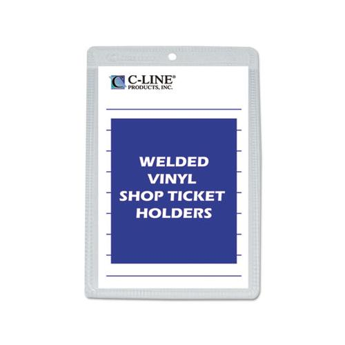 C-Line CLEAR VINYL SHOP TICKET HOLDER, BOTH SIDES CLEAR, 25 SHEETS, 5 X 8, 50-BOX