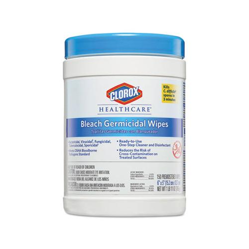 Clorox Bleach Germicidal Wipes, 6 X 5, Unscented, 150-canister, 6 Canisters-carton