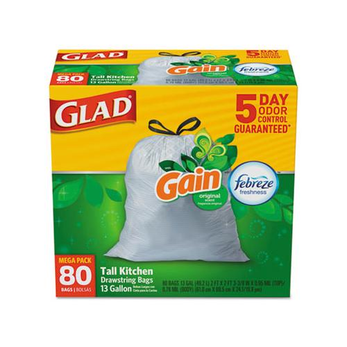 Glad Odorshield Kitchen Drawstring Bags, Gain Original, 13gal, White, 80-bx, 3 Bx-ct