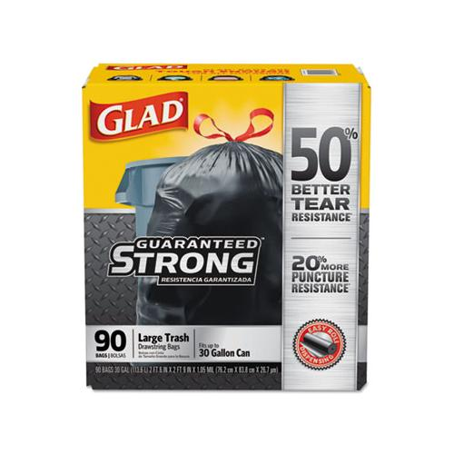 Glad Drawstring Large Trash Bags, 30 X 33, 30gal, 1.05mil, Black, 90-carton