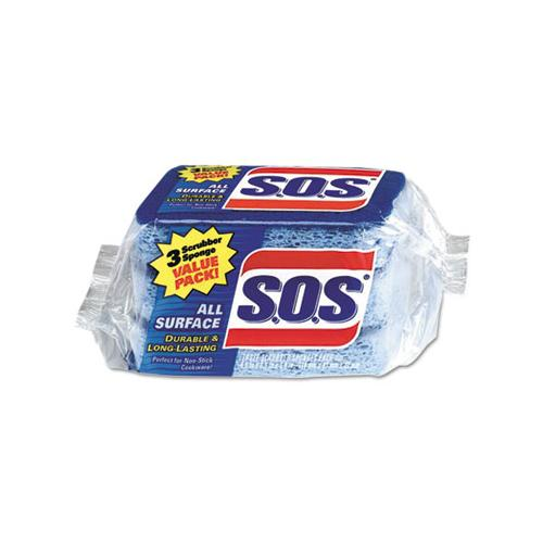 "S.O.S. All Surface Scrubber Sponge, 2 1-2 X 4 1-2, 0.9"" Thick, Blue, 3-pack, 8 Packs-ct"