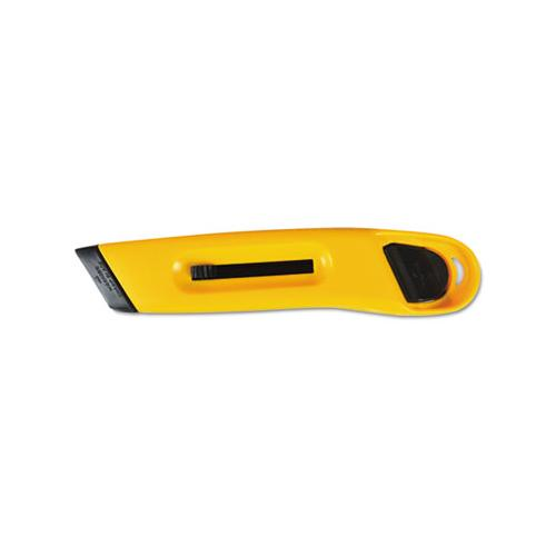 COSCO Plastic Utility Knife W-retractable Blade & Snap Closure, Yellow