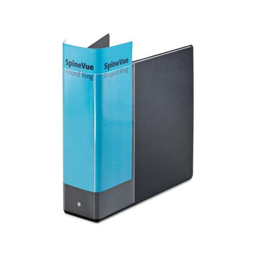 "Cardinal Spine Vue Locking Round Ring Binder, 3"" Cap, 11 X 8 1-2, Black"