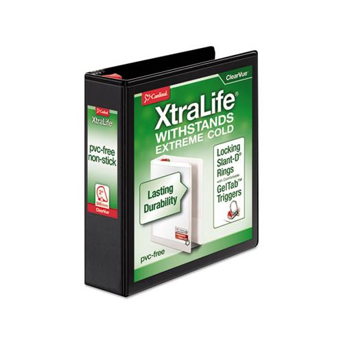"Cardinal Xtralife Clearvue Non-Stick Locking Slant-D Binder, 2"" Cap, 11 X 8 1-2, Black"
