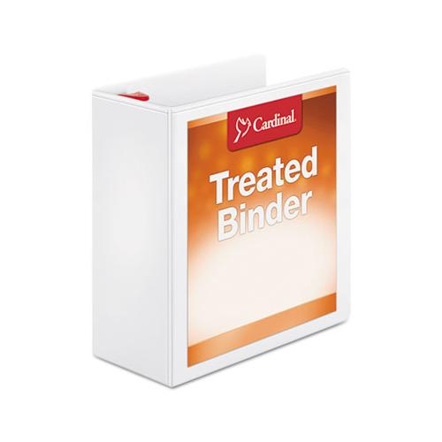 "Cardinal Treated Binder Clearvue Locking Slant-D Ring Binder, 4"" Cap, 11 X 8 1-2, White"