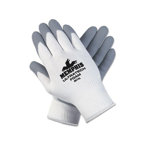 MCR Safety Ultra Tech Foam Seamless Nylon Knit Gloves, Large, White-gray, 12 Pair-dozen