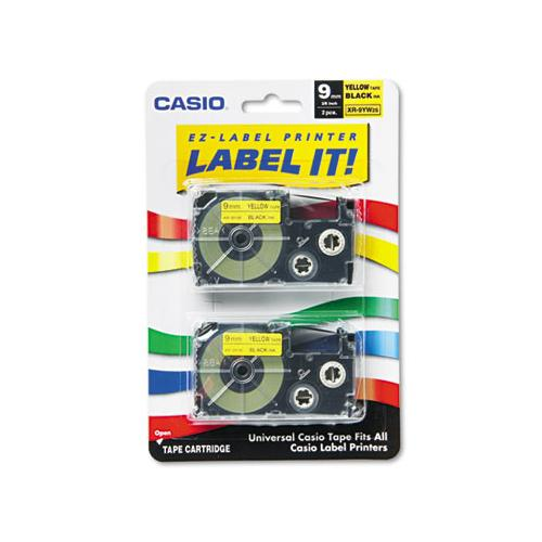Casio Tape Cassettes For Kl Label Makers, 9mm X 26ft, Black On Yellow, 2-pack