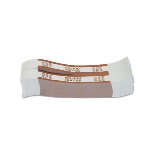 COINTAINER Currency Straps, Brown, $5,000 In $50 Bills, 1000 Bands-pack