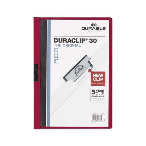 Durable VINYL DURACLIP REPORT COVER W-CLIP, LETTER, HOLDS 30 PAGES, CLEAR-MAROON, 25-BOX