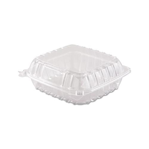 Dart Clearseal Hinged-Lid Plastic Containers, 8 3-10 X 8 3-10 X 3, Clear, 250-carton