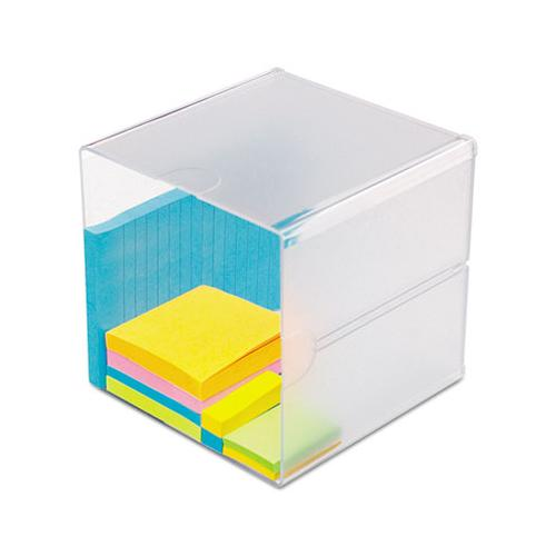 deflect-o STACKABLE CUBE ORGANIZER, 6 X 6 X 6, CLEAR