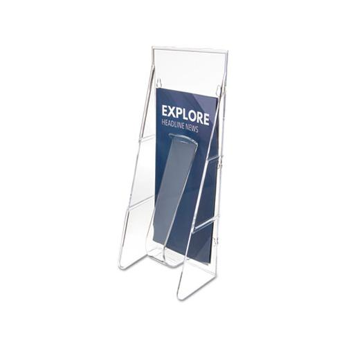 deflect-o STAND-TALL WALL-MOUNT LITERATURE RACK, LEAFLET, 4 9-16 X 2 3-4 X 11 3-4, CLEAR