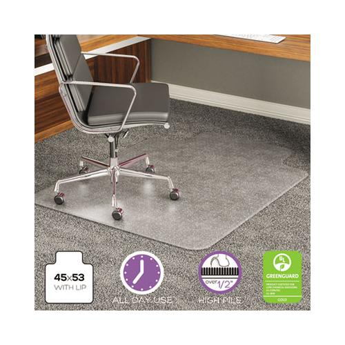 deflect-o EXECUMAT ALL DAY USE CHAIR MAT FOR HIGH PILE CARPET, 45 X 53, WIDE LIPPED, CLEAR