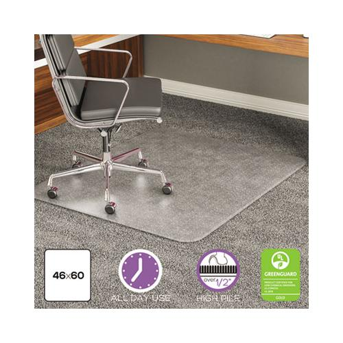 deflect-o EXECUMAT ALL DAY USE CHAIR MAT FOR HIGH PILE CARPET, 46 X 60, RECTANGULAR, CLEAR