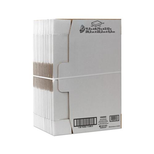 Duck Self-Locking Shipping Boxes, 11 1-2l X 8 3-4w X 2 1-8h, White, 25-pack