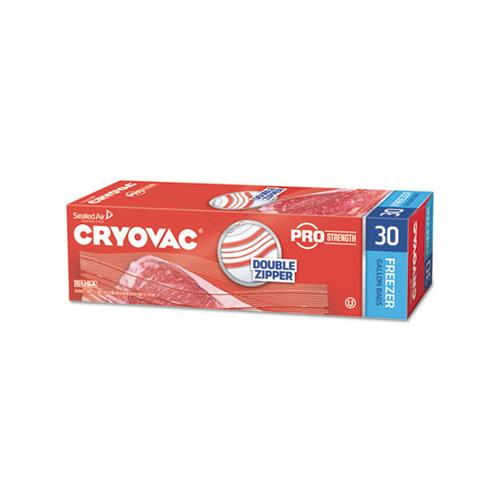 "Diversey Cryovac One Gallon Freezer Bag Dual Zipper, Clear, 10 1-2"" X 10 15-16"", 270-ct"