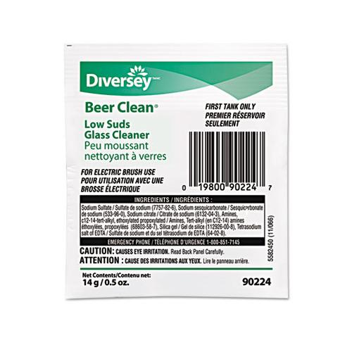 Diversey Beer Clean Glass Cleaner, Powder, .5oz Packet, 100-carton