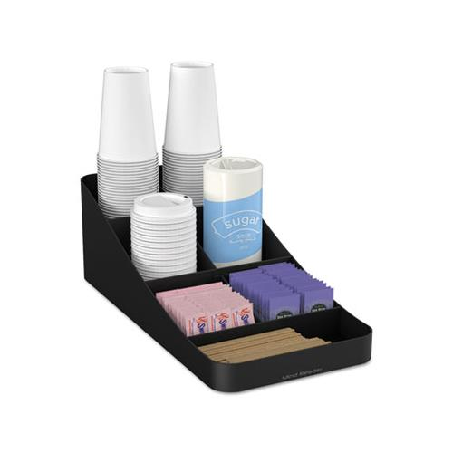 MindReader Trove Seven-Compartment Coffee Condiment Organizer, Black, 7 3-4 X 16 X 5 1-4