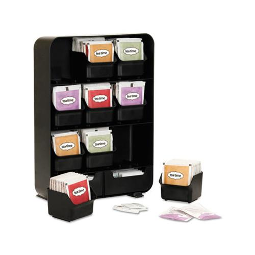 MindReader Baggy Nine-Drawer Tea Bag And Accessory Holder, Black, 10.24 X 4.33 X 13.11