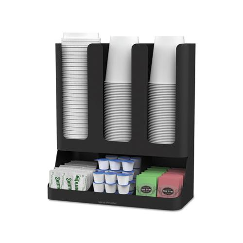 MindReader Flume Six-Section Upright Coffee Condiment-cup Organizer, Black, 11.5 X 6.5 X 15