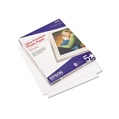 Epson Ultra-Premium Glossy Photo Paper, 79 Lbs., 8-1-2 X 11, 50 Sheets-pack