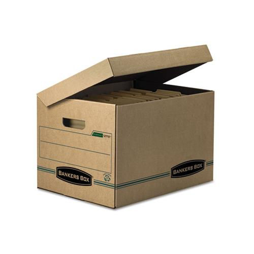 BankersBox Stor-file Storage Box, Letter-legal, Attached Lid, Kraft-green, 12-carton