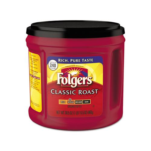 Folgers Coffee, Classic Roast, Ground, 30.5 Oz Canister, 6-carton