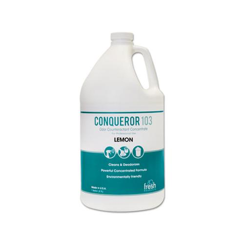 FreshProd Conqueror 103 Odor Counteractant Concentrate, Lemon, 1 Gal Bottle, 4-carton
