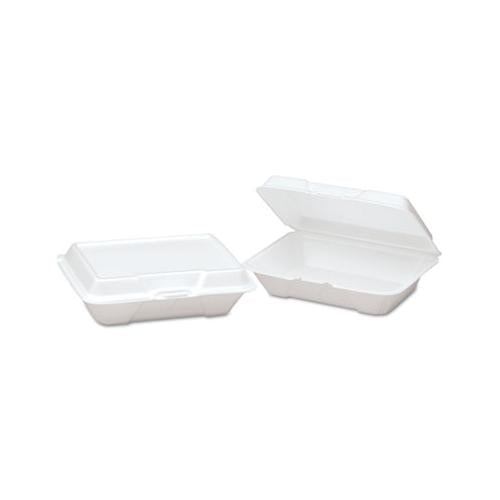Genpak Foam Hinged Carryout Container, Shallow, 9-1-5x6-1-2x2-8-9, White, 100-bg, 2-ct