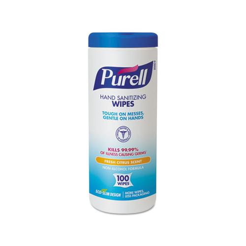 "PURELL Premoistened Hand Sanitizing Wipes, Cloth, 5 3-4"" X 7"", 100-canister"