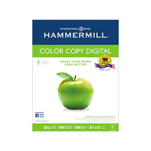 Hammermill COLOR COPY PAPER, 100 BRIGHT, 28LB, LETTER, PHOTO WHITE, 500-RM, 5 RM-CT