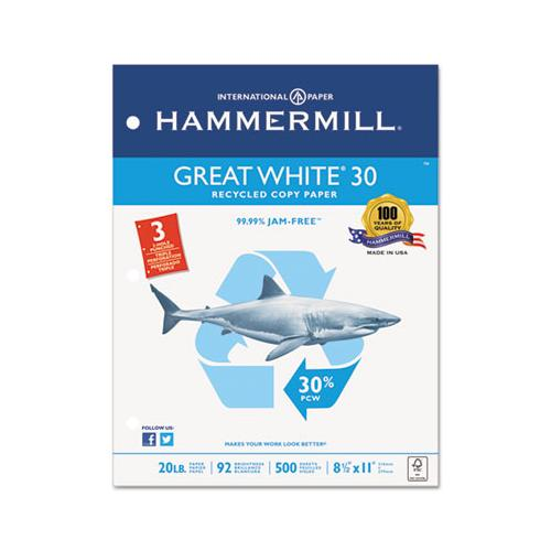 Hammermill GREAT WHITE 30 RECYCLED PAPER, 3-HOLE, 92 BRIGHT, 20LB, LETTER, 500-RM, 10 RM-CT