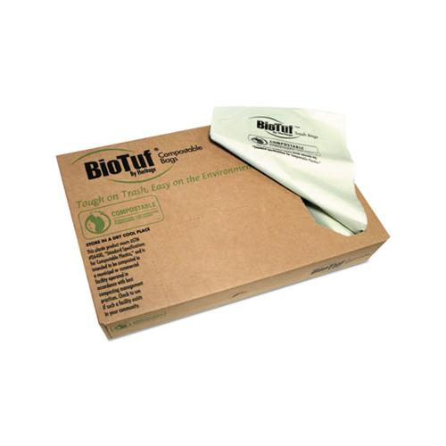 Heritage BIOTUF COMPOSTABLE CAN LINERS, 40-45 GAL, .9 MIL, 40X46, LIGHT GREEN, 100-CARTON